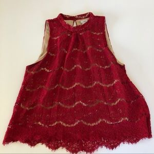 Love Fire red lace sleeveless top LG